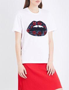 MARKUS LUPFER Alex sequinned cotton-jersey T-shirt