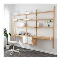 IKEA - SVALNÄS, Wall-mounted workspace combination, bamboo, white, With a spacious storage solution everything has its place; makes it easy to find your things. Hide or display your things by combining open and closed storage. White Floating Shelves, Floating Shelves Bathroom, Modular Shelving, Shelving Systems, Shelf System, Svalnäs Ikea, Home Interior, Interior Design, Br House