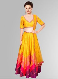 76230f80e0c Fabboom Yellow And Pink Navratri Special Lehariya Style Lehenga Choli   Lehenga… Indian Skirt