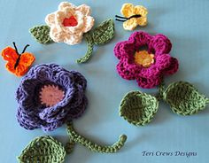 Img_1745_small2...Crocheted flowers and butterflies are perfect to use in jewelry making... Free patterns!!