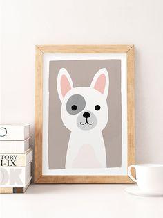 Animal Art, Tier-Kindergarten-Prints, Zoo Tierbabys, Hund Kinderzimmer Decor, Cute Kindergarten-Kunst, Baby Animal Prints, Hund hübsch drucken, Kids-Dekor
