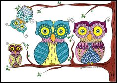 Owl family Illustration  Illustrated Owls  by MMoborgPhotography, $15.00