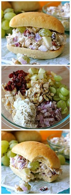 GREEK YOGURT CHICKEN SALAD SANDWICH . Chicken, grapes, onion, almonds, cranberries, Greek yogurt, salt & pepper