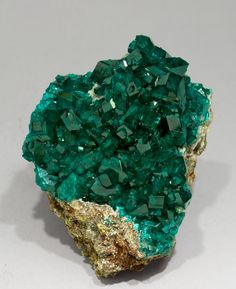 "mineralia: "" Dioptase with Calcite from Namibia by Fabre Minerals """