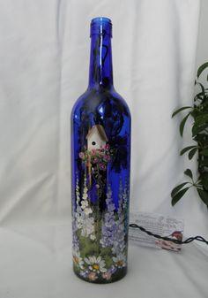 WINE BOTTLE LIGHT-Birdhouse Garden-Night Light Lamp Painted Wine Bottles, Lighted Wine Bottles, Painted Wine Glasses, Bottle Lights, Wine Bottle Lighting, Decorated Bottles, Glass Bottles, Wine Bottle Corks, Glass Bottle Crafts
