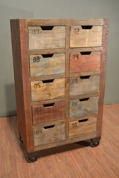 Industrial Rustic Solid Reclaimed wood Console / Dresser / Sideboard / Media Stand with multiple utility drawers on wheels Retro Industrial, Vintage Industrial Furniture, Reclaimed Wood Furniture, Pallet Furniture, Furniture Projects, Rustic Furniture, Cool Furniture, Painted Furniture, Painted Wood
