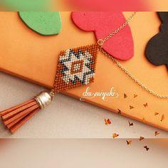 Turuncu Etnik desen kolye✨ ___________________________________________ Bilgi için dmden ulaşabilirsiniz #miyuki #miyukibileklik #peyote #perlesmiyuki #perlesaddict #jewellery #design #fashion #style #tasarim #kolye #bileklik #trend #accessories #bayan #moda #aksesuar #handmade #love #takı #instalove #insta #instalike #like4like #art #summer #sezon #art#turuncu#bohem #etnik
