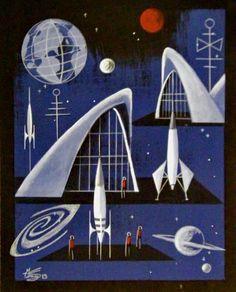 V ✌ ☆ beautiful space ages imaginings Mid Century Modern Art, Mid Century Art, Retro Futuristic, Futuristic Architecture, 70s Sci Fi Art, Ufo, Atomic Age, Atomic Punk, Vintage Space