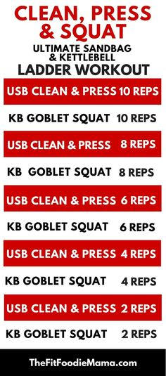 DVRT Ultimate Sandbag and Kettlebell Ladder Workout {Dynamic Variable Resistance Training, Strength Training, Functional Fitness, Clean Press and Squat Workout} Kettlebell Clean, Kettlebell Challenge, Kettlebell Circuit, Kettlebell Training, Kettlebell Swings, Kettlebell Benefits, Sandbag Workout, Squat Workout, Perfect Squat