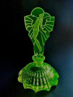 Bohemian Vaseline Uranium Art Deco Glass Czech Perfume Bottle Signed Pesnicak   eBay