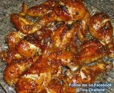 Carmelized Backed Chicken 2 half pounds chicken legs or wings, 1 2/3 tablespoons olive oil, half cup soy sauce, 1 2/3 tbs ketchup,  3/4 cup honey, 2 to 3 garlic cloves (minced), salt pepper  Preheat oven to 350. Place chicken in a 9 by 13 inch baking dish. Mix together the oil soy sauce ketchup honey garlic salt and pepper. Pour over the chicken. Bake in preheated oven for 1 hour or until sauce is carmelized.