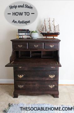 Find out how to re-stain your chest of drawers! Follow our easy step-by-step blog to learn how to make a beautiful red mahogany secretary.