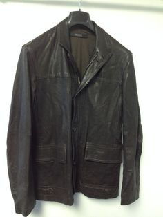 MEN'S DKNY BROWN LEATHER ZIP FRONT WITH BUTTONS JACKET  APPROX SIZE L #DKNY #LEATHERJACKET