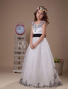 Bordado branco faixa laço Organza Flower Girl Dress - Milanoo.com