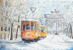 """""""tram e neve all'Arco della Pace """",Milano acquerello 35x51 di Lorenza Pasquali n.d."""