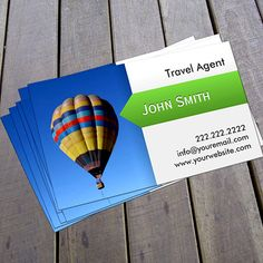 Hot Air Balloon Travel Agent Business Card created by cardfactory. This design is available on several paper types and is totally customizable. Business Cards Online, Unique Business Cards, Business Card Design, Letterpress Business Cards, Travel Themes, Hot Air Balloon, Business Travel, Beach Day, Balloons