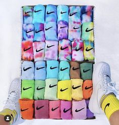 Do you like colored socks? Tie Dye Outfits, Nike Outfits, Tie Dye Socks, Matching Socks, How To Tie Dye, Nike Socks, Cute Comfy Outfits, Tie Dye Shirts, Nike Air Force Ones