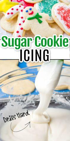 Easy Sugar Cookies, Sugar Cookies Recipe, Holiday Cookies, Holiday Desserts, Holiday Baking, Homemade Cookie Icing Recipe, Hard Icing For Cookies, Cookie Decorating Frosting Recipe, Recipes