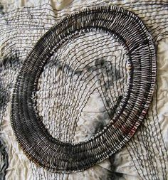 """Beautiful stitchery by Chicago textile artist Danny Mansmith. """"Danny's work is so prolific it is difficult to summarise, the few examples I have chosen are free machine embroidery pieces, resembling sashiko in the intensity of stitch."""" via the artroom plant"""