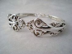 Spoon Bracelet Vintage Silverware Jewelry (French Lace, 1983) by monpetitchouboutique