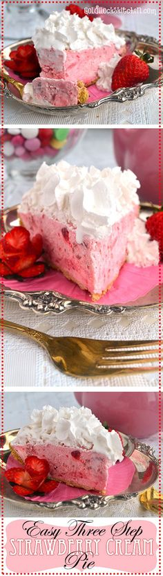 Sweet strawberries enveloped by billowy whipped cream create a dreamy pie that is a cinch to make. No bake, 3 simple steps! Perfect valentines day dessert Give this Strawberry Cream Pie recipe a try! Mini Desserts, Easy Desserts, Delicious Desserts, Dessert Recipes, Yummy Food, Baking Desserts, Holiday Desserts, Pie Recipes, Healthy Food
