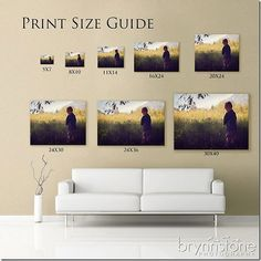 Print Size Guide -so you can see the size of the art you are buying above an actual sofa