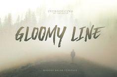 Gloomy Line Brush Font by khurasan on @creativemarket