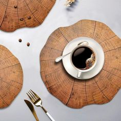 Nordic Wood Style Placemats for Dining Table Wood Placemats, Dining Table Sale, Silver Table, Friendly Plastic, Decoration Table, Decorative Bowls, Tea Cups, Table Settings, Shapes
