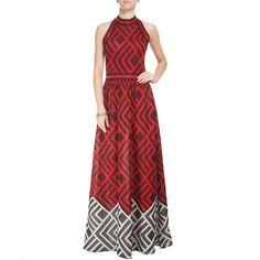 COVEN - Vestido longo Coven tricô gráfico - vermelho e preto - OQVestir