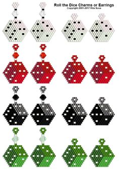 Roll the Dice Charms or Earrings | Bead-Patterns