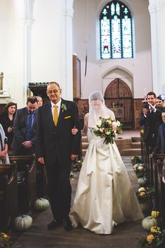 A Wonderful and Inspired Mustard Yellow Autumn Wedding - call me old fashioned - I do believe the Bride wearing a veil can add a lovely dramatic aspect to the processional! Wedding Blog, Destination Wedding, Father Of The Bride, Autumn Wedding, Dresses Uk, Marry Me, Mustard Yellow, I Dress, Real Weddings