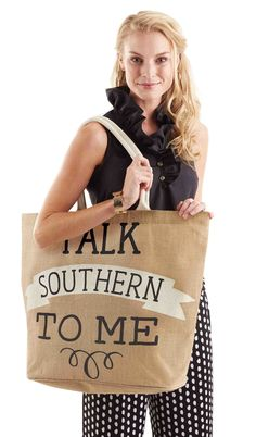 Laminated jute totes feature contrasting cotton web handles and printed southern sentiments. Laminated wipe-clean interior and interior pocket.