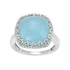 Sterling Silver Blue Chalcedony Cabochon Ring, Women's, Size: 8