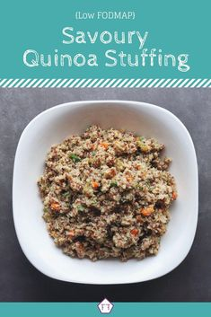 Think following the Low FODMAP Diet means you'll miss out on stuffing this holiday? Your whole family will enjoy this low FODMAP quinoa stuffing! FODMAP Recipes | FODMAP Diet | FODMAP Diet Recipes | FODMAP Healthy Recipes | Low FODMAP Healthy #glutenfree #fodmap #Thanksgiving #Christmas www.fodmapformula.com