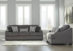Overstock Furniture - Langley Park, Catonsville, Alexandria & Lanham Gilmer Gunmetal Sofa and Loveseat Grey Sofa Set, Kids Mattress, Accent Chairs For Sale, Queen Sofa Sleeper, Couch And Loveseat, Chair Side Table, Room Color Schemes, Living Room Sets, Home And Living