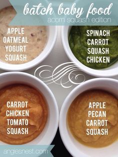 Batch baby food recipe with acorn squash. Four homemade baby food recipes to make all at once with totally different flavors. Shopping list included to make it easy!