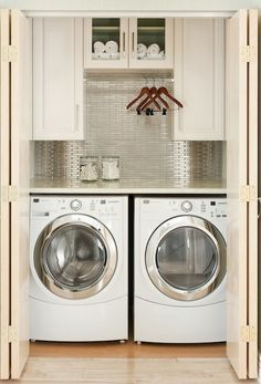 beautiful-closet-laundry-room-silver-tile @ Home Improvement Ideas