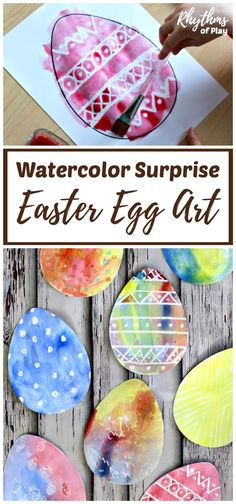 FREE Watercolor Surprise Easter Egg Art - There are two techniques that can be used to create this holiday piece. Use the FREE printable template & follow the instructions to create your Easter art! | #RhythmsOfPlay #EasterArt #Freebie #FreeArt #EasterDecor #KidsCrafts #EasterCraftForKids