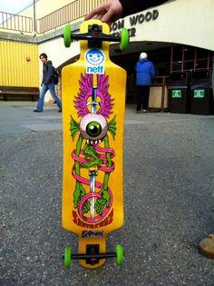 Santa Cruz longboard owned by Dorian. Modified with 85 mil in-line skate wheels.