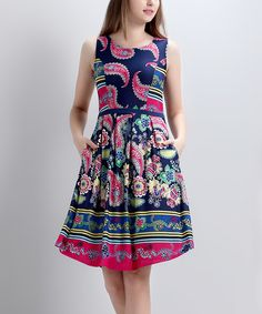 Look at this Navy Paisley Sleeveless Fit & Flare Dress on #zulily today!