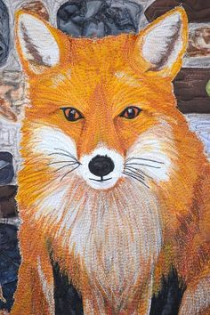 """Detail of """"Fox in the Moonlight"""" by Pamela George. Amazing!"""