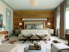 Barn wood walls, bed, benches, color scheme  +++Idea for color scheme for wood wall bedroom!