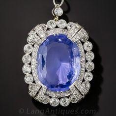 15.65 Carat Unheated Ceylon Sapphire, Platinum and Diamond Necklace