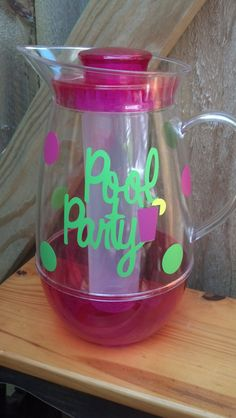 Personalized Pool Party Acrylic Pitcher by Just4ubyKim on Etsy, $15.00