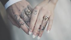 The Great Frog Wedding Rings // Custom made Skull Rings // Tattooed Bride & Groom // Sweetheart Nails // Alternative Wedding