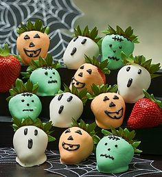Halloween chocolate dipped strawberries: ghosts, jack-o-lanterns & Frankenstein. Make your own Halloween dipped strawberries, use white dipping chocolate with chocolate coloring. For delicious dipping chocolate, use Chocoley Bada Bing Bada Boom Gourmet Compound Dipping Chocolate. http://www.chocoley.com/chocolate