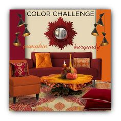 """Color Challenge: Pumpkin & Burgundy"" by constanceann ❤ liked on Polyvore featuring interior, interiors, interior design, home, home decor, interior decorating, Grandin Road, Pillow Decor, Fiesta and Benzara"