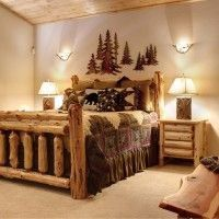 Sublime Log Furniture decorating ideas for Bewitching Bedroom Rustic design ideas with big bear lake evergreen estates Interiors log bed log furniture log-style mountain