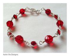 Swarovski Ruby July Birthstone Crystal Silver by AutreVieDesigns, $45.00
