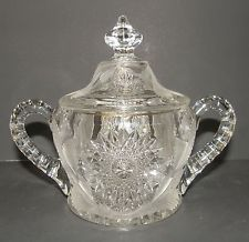 Antique Millersburg Hobstar and Feather Pattern Glass Covered Crystal Sugar Bowl